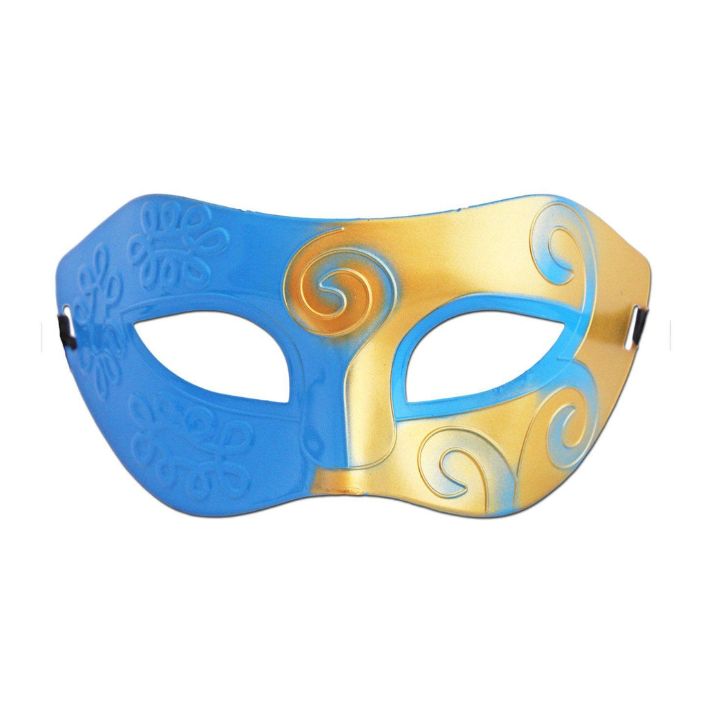 Mens Masquerade Mask - Gold And Light Blue Swirl blue, fancy dress, gold, masks, masquerade, mens, venetian, womens