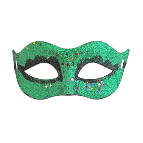 Green Glitter Carnival Masquerade Mask With Stars adult one size, fancy dress, glitter, green, mardi gras, masks, masquerade, venetian, womens