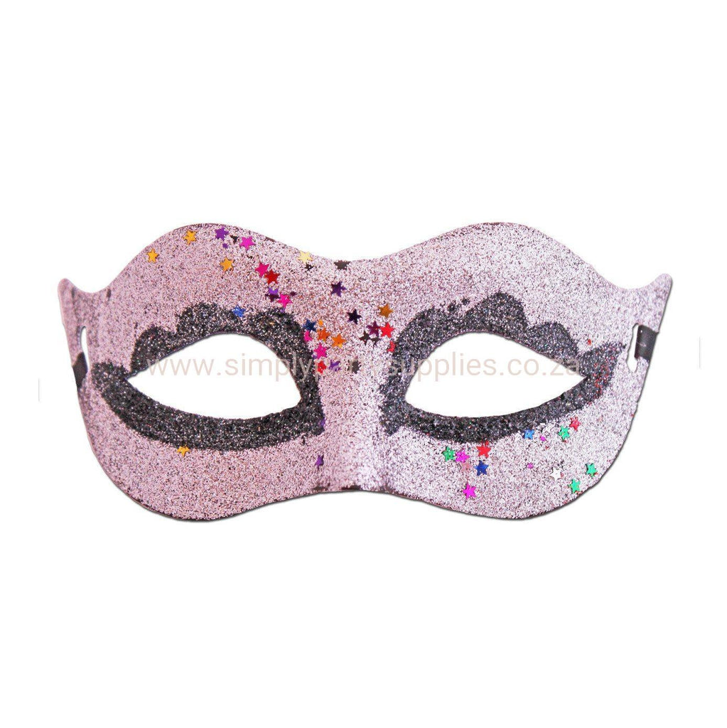 Silver Glitter Carnival Masquerade Mask With Stars adult one size, fancy dress, glitter, mardi gras, masks, masquerade, silver, venetian, womens