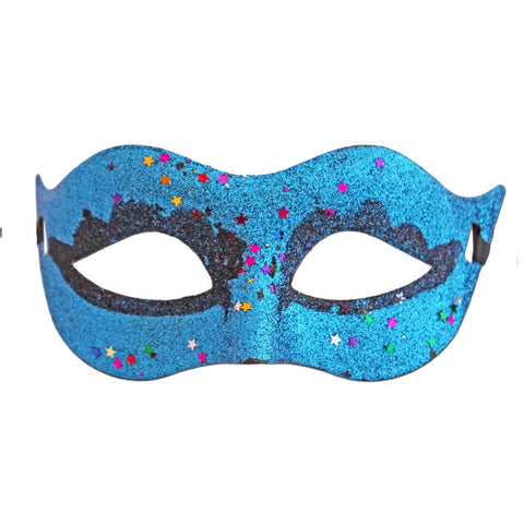 Turquoise Glitter Carnival Masquerade Mask With Stars adult one size, blue, fancy dress, glitter, light blue, mardi gras, masks, masquerade, turquoise, venetian, womens
