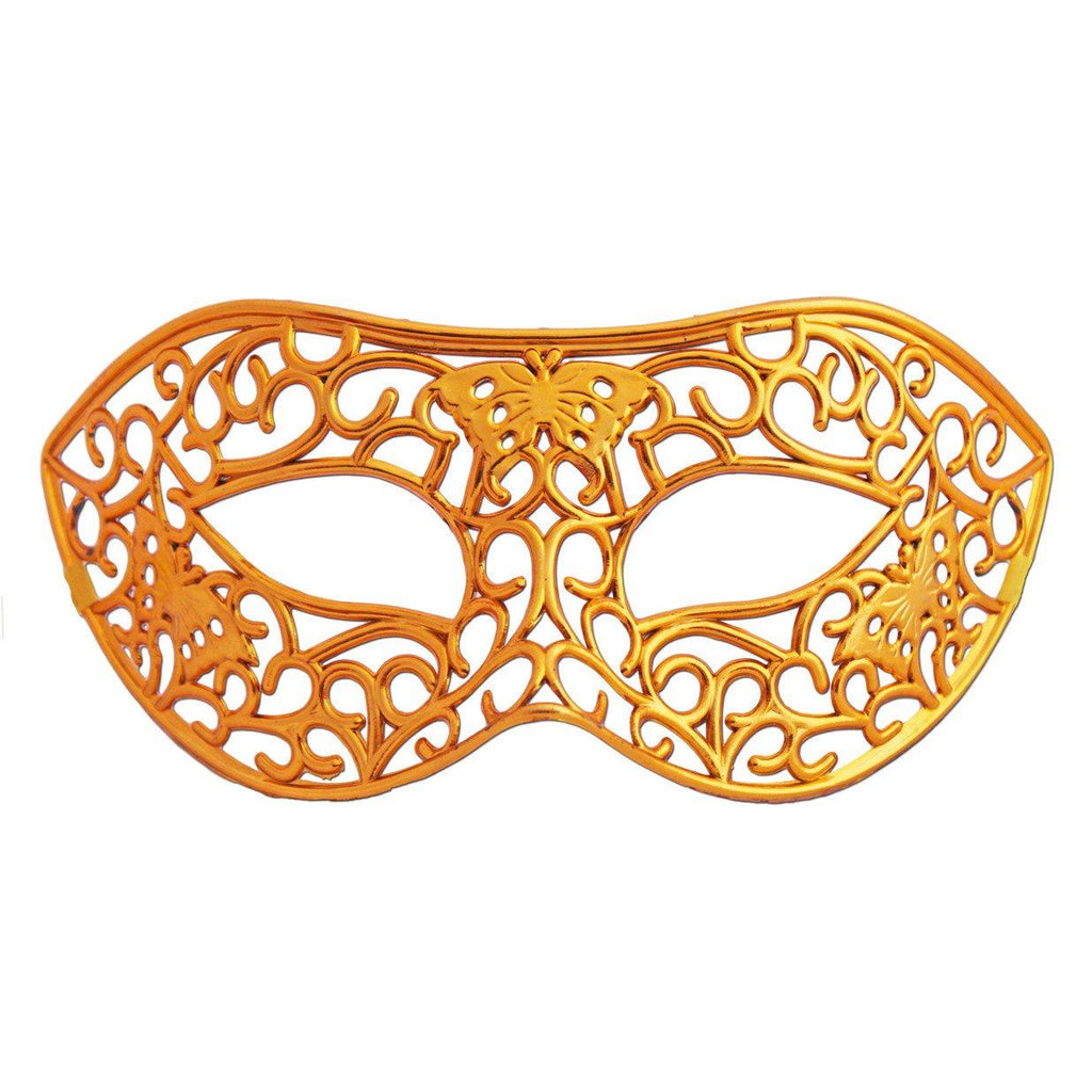 Masquerade Mask - Gold Shiny Filigree Masquerade Mask