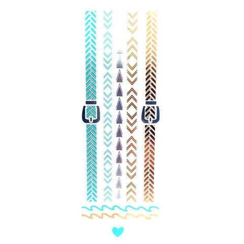 Gold Silver And Turquoise Metallic Jewellery Tattoo - Design 66 ankle, arrow, black, bracelet, braid, buckle, fancy dress, gold, jewellery, metallic, silver, tattoo, turquoise, watch, wholesale, womens, wrist