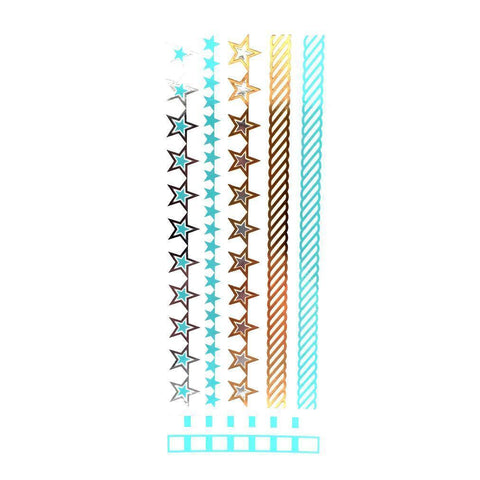 Gold Silver And Turquoise Metallic Jewellery Tattoo - Design 67 Stars ankle, black, fancy dress, gold, jewellery, metallic, silver, stars, tattoo, turquoise, wholesale, womens, wrist