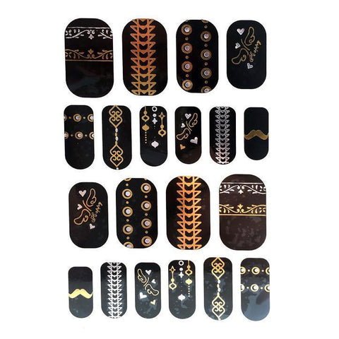 Gold And Silver Design Nail Stickers - Arrows and Dots gold, metallic, nail, silver, sticker, wholesale, womens