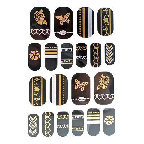 Gold And Silver Design Nail Stickers - Butterflies, Hearts and Stripes gold, metallic, nail, silver, sticker, wholesale, womens