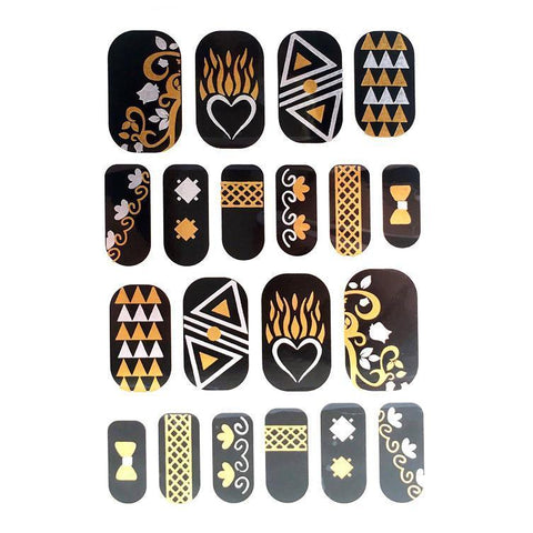 Gold And Silver Design Nail Stickers - Hearts and Arrows gold, metallic, nail, silver, sticker, wholesale, womens