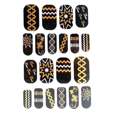 Gold And Silver Design Nail Stickers - Chains, Stars and Zig Zags gold, metallic, nail, silver, sticker, wholesale, womens