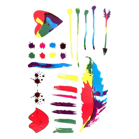 Temporary Tattoo - Colourful Paint Temporary Tattoo Themed Sheet - Feathers And Heart