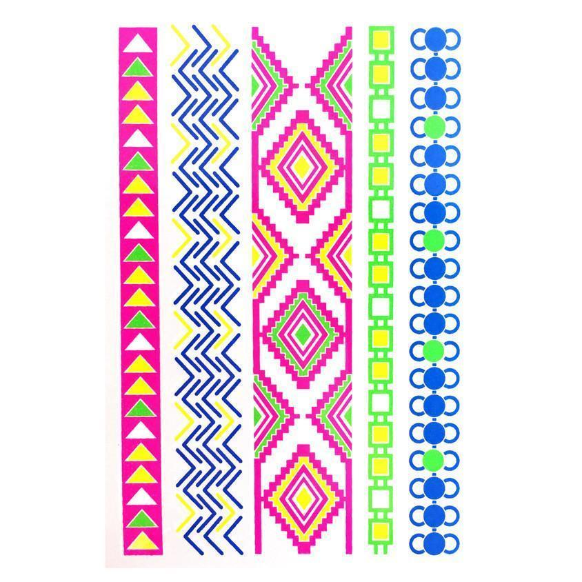 Day-Glo Temporary Tattoos - Design 100 ankle, arm, arrow, blue, chain, day-glo, diamond, fancy dress, flower, green, jewellery, pink, tattoo, wholesale, womens, wrist, yellow, zig zag