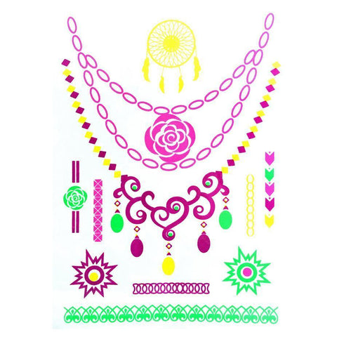 Day-Glo Temporary Tattoos - Design 102 ankle, arm, blue, day-glo, dream catcher, fancy dress, flower, green, jewellery, necklace, pendant, pink, rose, sun, tattoo, wholesale, womens, wrist, yellow