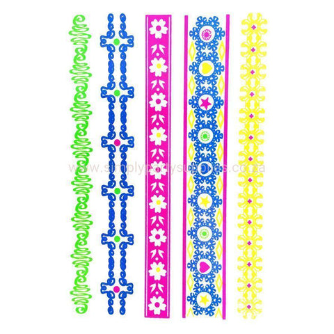 Day-Glo Temporary Tattoos - Design 103 ankle, arm, blue, day-glo, fancy dress, flower, green, jewellery, pink, tattoo, wholesale, womens, wrist, yellow