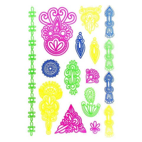 Day-Glo Temporary Tattoos - Design 105 ankle, arm, blue, day-glo, fancy dress, flower, green, jewellery, pink, tattoo, wholesale, womens, wrist, yellow