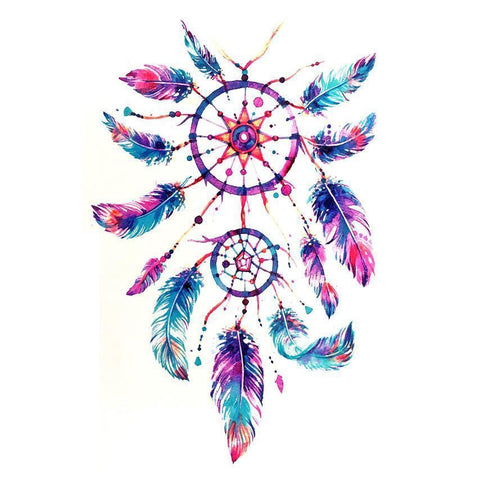 Dream Catcher Temporary Tattoo Themed Sheet - Design 2 colour, dream catcher, feather, sheet, tattoo, themed, wholesale