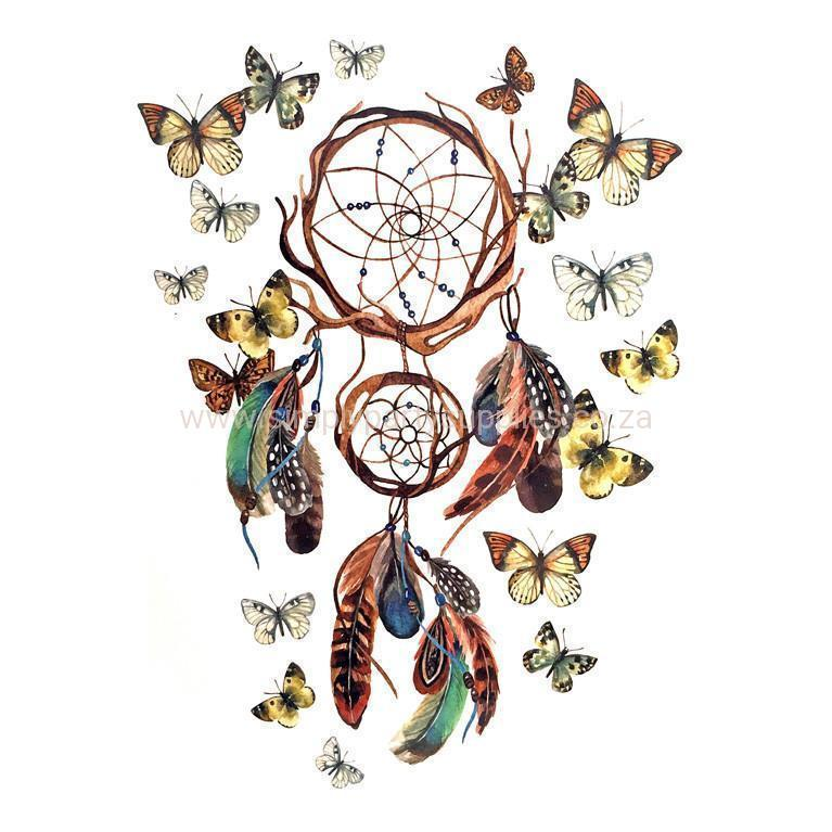 Dream Catcher Temporary Tattoo Themed Sheet - Design 3 colour, dream catcher, feather, sheet, tattoo, themed, wholesale