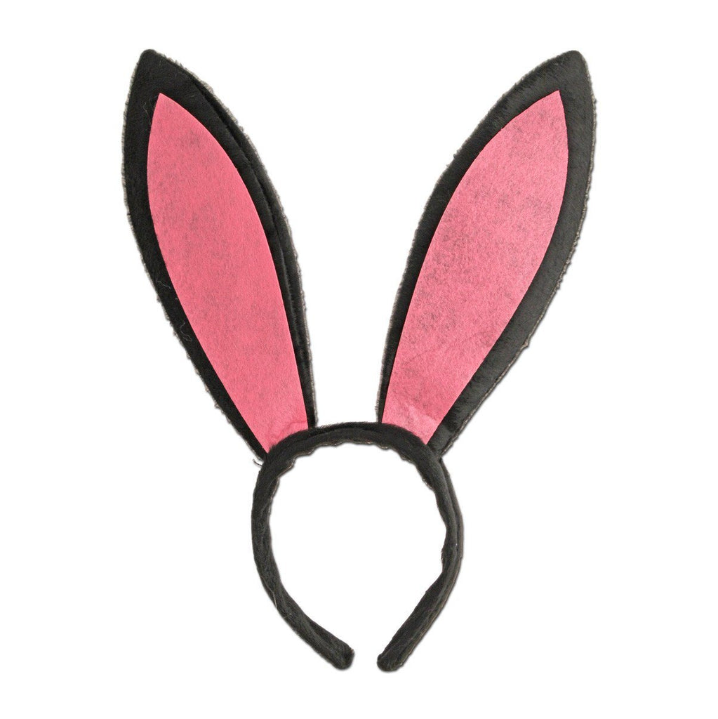 Black And Pink Large Bunny Ears accessories, alice in wonderland, animals, black, bow tie, boys, bunny, childrens, costume, ears, fancy dress, girls, rabbit, tail, womens