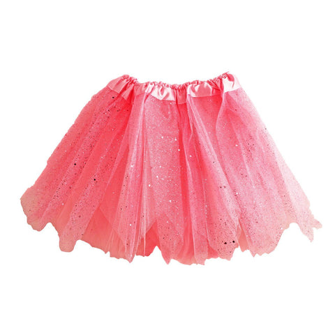 Fancy Dress Costume - Girls Pink Tulle Tutu With Glitter And Sequins