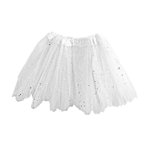 Fancy Dress Costume - Girls White Tulle Tutu With Glitter And Sequins