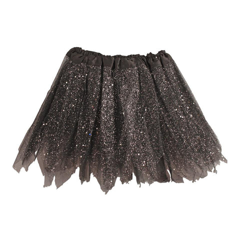 Fancy Dress Costume - Girls Black Tulle Tutu With Glitter And Sequins