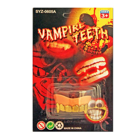 Fancy Dress Costume Accessory - Gold Capped Vampire Teeth