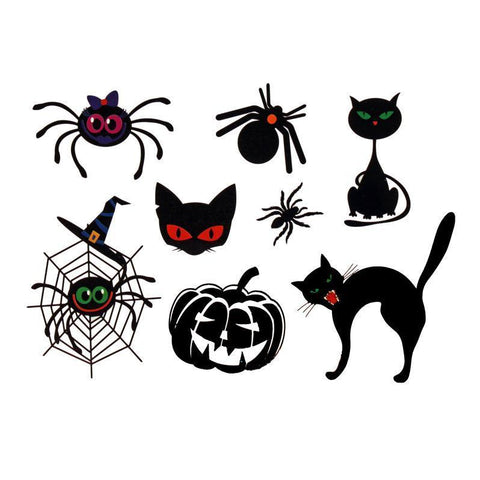 Halloween Theme Tattoo Sticker Set cat, childrens, fancy dress, halloween, spider, tattoo, wholesale