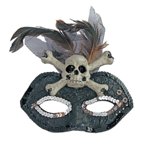 Skull And Cross Bones Halloween Masquerade Mask black, carnival, fancy dress, feathers, halloween, mardi gras, masks, masquerade, rio carnival, womens