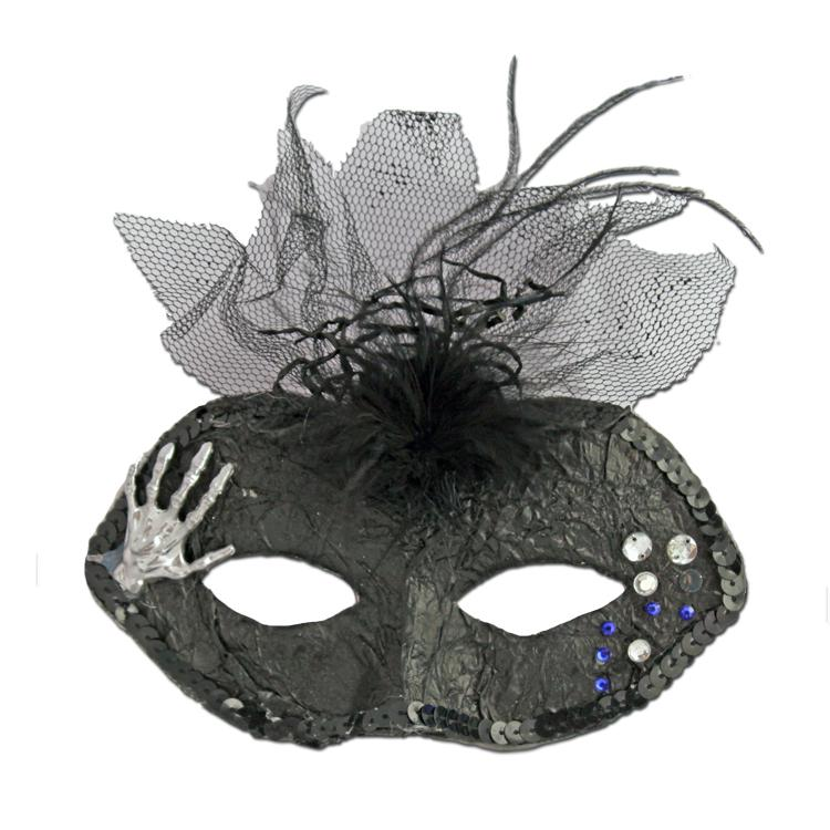 Halloween Masquerade Mask With Hand black, fancy dress, halloween, masks, masquerade, venetian, womens