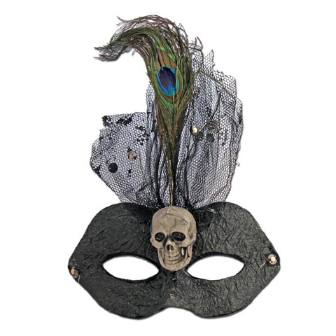 Skull Halloween Masquerade Mask black, carnival, fancy dress, feathers, halloween, mardi gras, masks, masquerade, rio carnival, womens