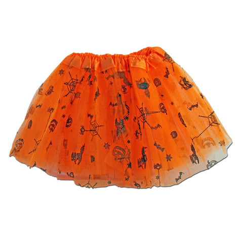 Fancy Dress Costume - Girls Orange Halloween Tulle Tutu