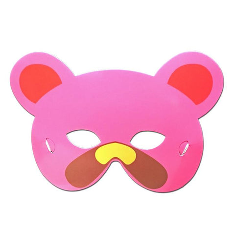 Bear Childrens Cardboard Animal Mask In Pink And Brown - Childrens Masks - Simply Party Supplies