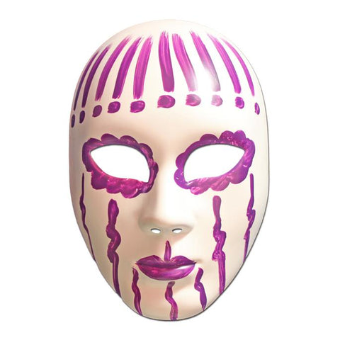 Masquerade Mask - White And Purple Painted Volto Masquerade Mask