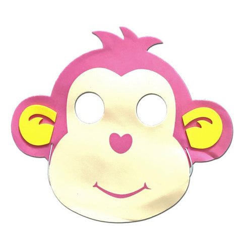 Childrens Masks - Monkey Childrens Foam Animal Mask In Pink