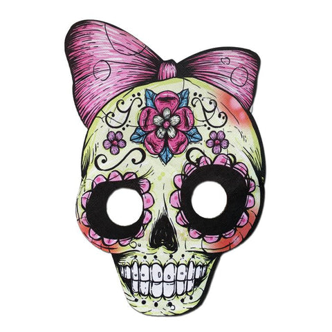 Masquerade Mask - Day Of The Dead Style Mask With Pink Bow