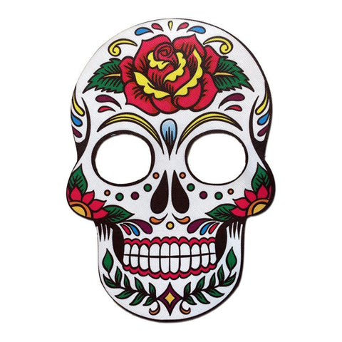 Day Of The Dead Style Mask White With Red Rose