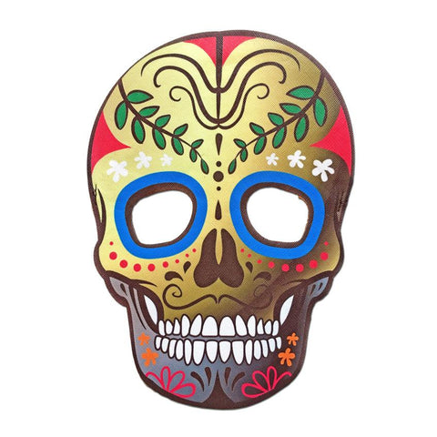 Masquerade Mask - Day Of The Dead Style Mask Gold With Blue Eyes