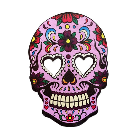 Masquerade Mask - Day Of The Dead Style Mask Pink With Heart Shape Eyes