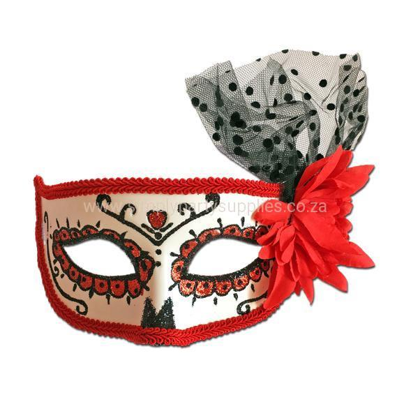 Rubber Mask - Day Of The Dead Masquerade Mask Red Rose