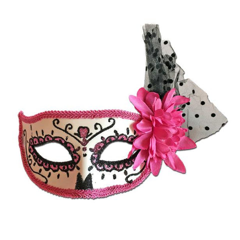 Rubber Mask - Day Of The Dead Masquerade Mask Pink Rose