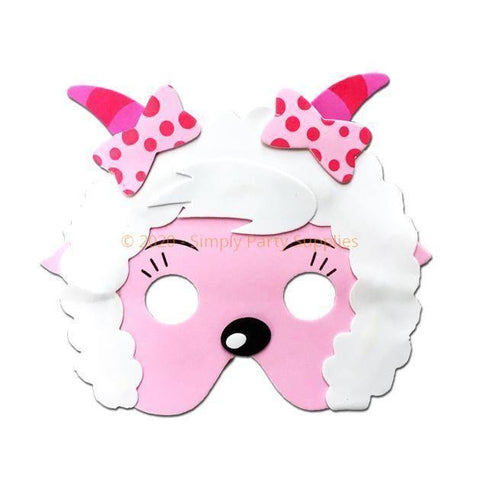 Childrens Masks - Goat Childrens Foam Animal Mask - Pink Face