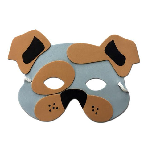 Bulldog Childrens Foam Animal Mask - Grey and Brown