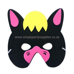 Childrens Masks - Donkey  Childrens Foam Animal Mask - Black