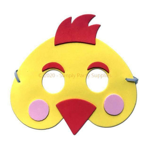 Chicken Childrens Foam Animal Mask - Yellow with Red Beak