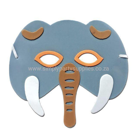 Elephant Childrens Foam Animal Mask - Grey with Orange Trim