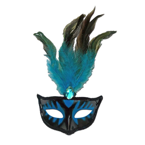 Masquerade Mask With Turquoise Feathers And Stone adult one size, black, blue, carnival, fancy dress, feathers, mardi gras, masks, masquerade, rio carnival, turquoise, venetian, womens