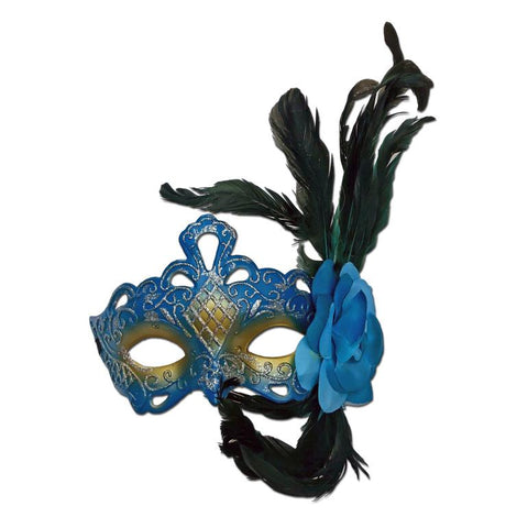 Masquerade Mask in Turquoise With Glitter, Feathers And Flower adult one size, blue, carnival, fancy dress, feathers, mardi gras, masks, masquerade, rio carnival, turquoise, venetian, womens