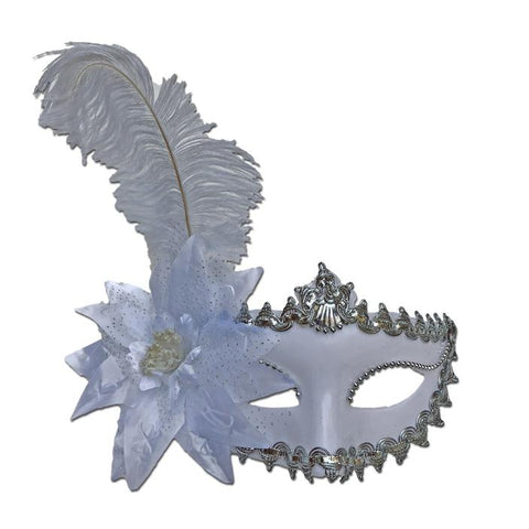 Masquerade Mask in White With Feather And Flower adult one size, carnival, fancy dress, feathers, mardi gras, masks, masquerade, rio carnival, venetian, white, womens