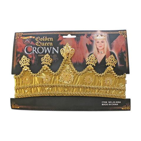 Adults Gold Queen Crown accessories, adult, alice in wonderland, crown, fancy dress, gold, hats, queen, womens