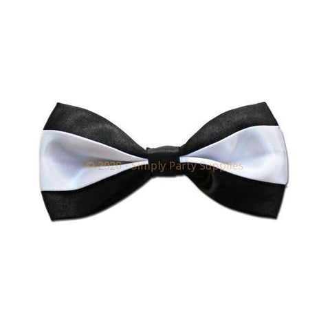 Bow Tie - Satin Bow Tie - Black with White