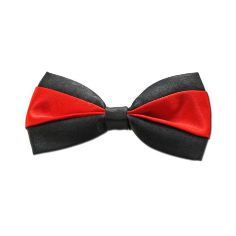 Satin Bow Tie - Black with Red