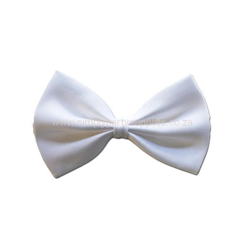 Satin Bow Tie - White 1920's, adult one size, alice in wonderland, bow tie, bow tie only, boys, casino, childrens, costume, fancy dress, gangster, great gatsby, maffia, mafia, magician, mens, mickey mouse, phantom, phantom of the opera, white