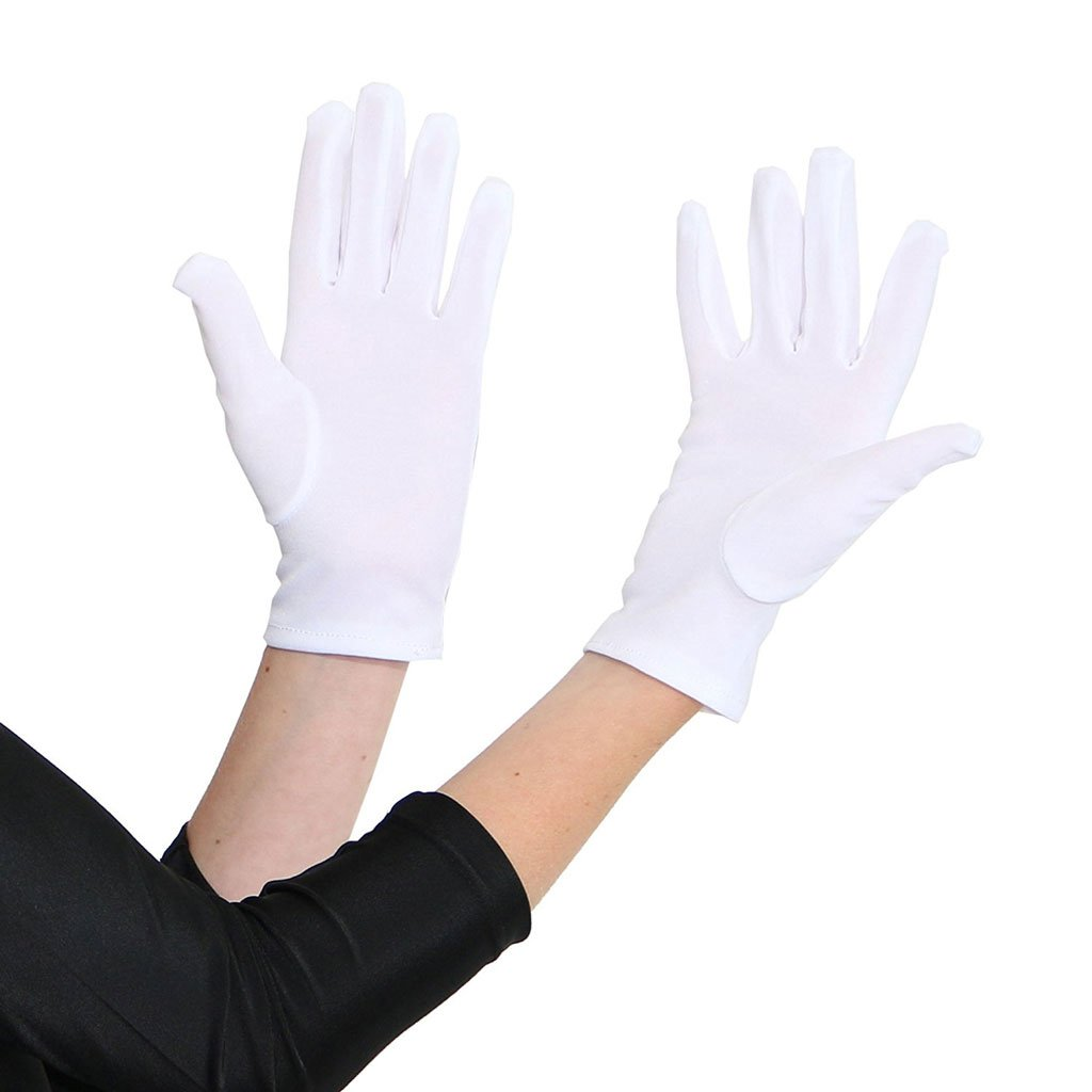 Economy Adult Short Gloves - White 1920's, accessories, adult one size, alice in wonderland, childrens, costume, dr seuss, fancy dress, gloves, great gatsby, magician, mens, phantom of the opera, white, womens